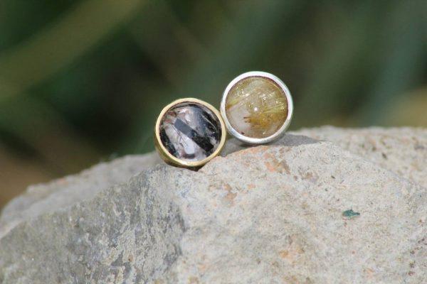 Pendientes de plata y baño de oro 24kts con gemas preciosas