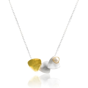Collar Trio de plata y oro amarillo Fairmined