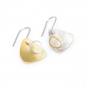 Pendientes de plata 925 y oro amarillo Fairmined de 18kts