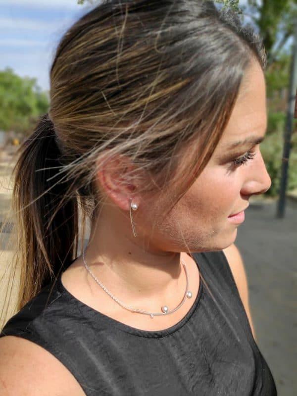 Pendientes y collar de plata 925 para mujer