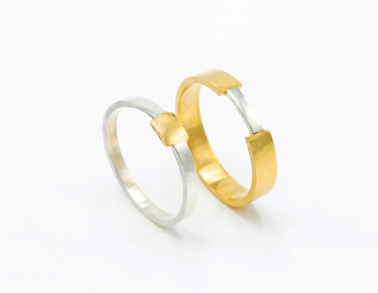 Alianzas de boda con oro justo Fairmined intercambiados