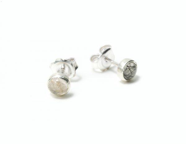 Pendientes de plata cuarzo rutilado y turmalinado trazables