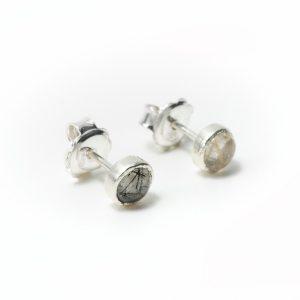 Pendientes de plata cuarzo rutilado y